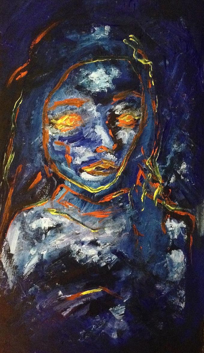 Portrait 1, 15x30, acrylic on canvas