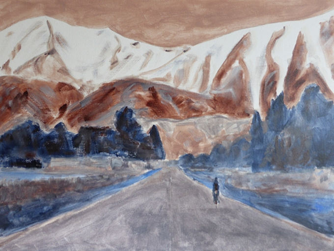 On the road again, WIP/underpainting – acrylic on canvas